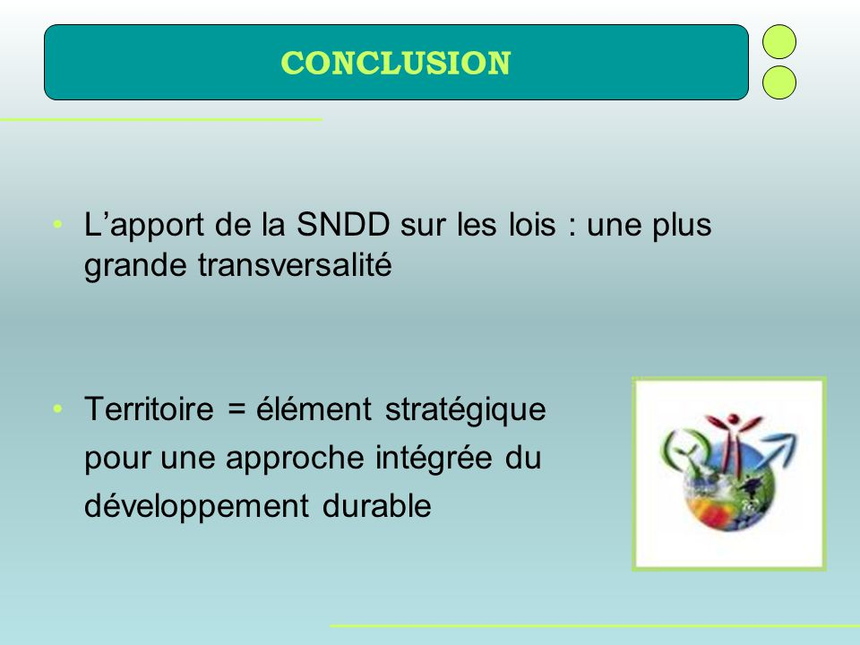 CONCLUSION L'apport de la SNDD sur les lois : une plus grande transversalité. Territoire = élément stratégique.