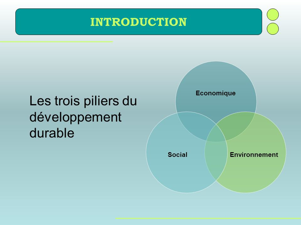 Les trois piliers du développement durable