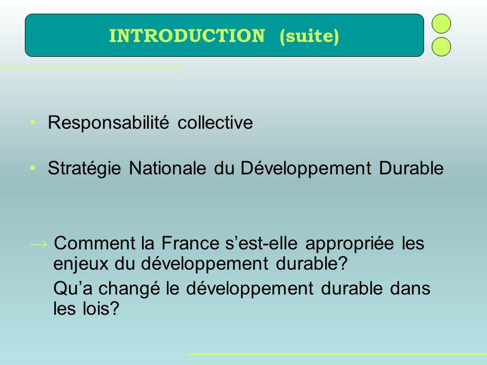 INTRODUCTION (suite) Responsabilité collective. Stratégie Nationale du Développement Durable.