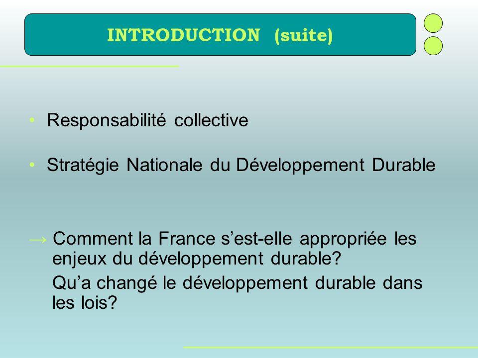 INTRODUCTION (suite) Responsabilité collective. Stratégie Nationale du Développement Durable.