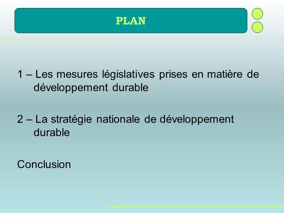 PLAN 1 – Les mesures législatives prises en matière de développement durable 2 – La stratégie nationale de développement durable Conclusion
