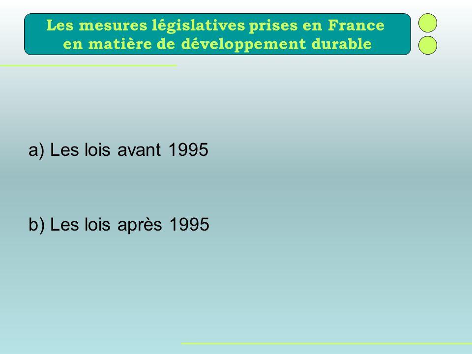 a) Les lois avant 1995 b) Les lois après 1995