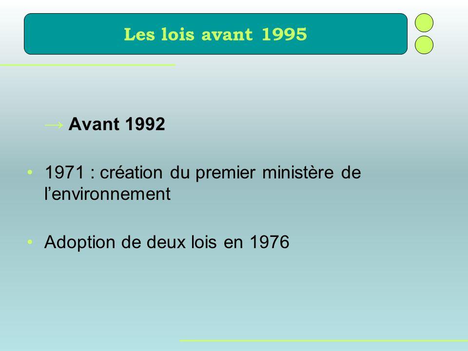 Les lois avant 1995 → Avant 1992. 1971 : création du premier ministère de l'environnement.