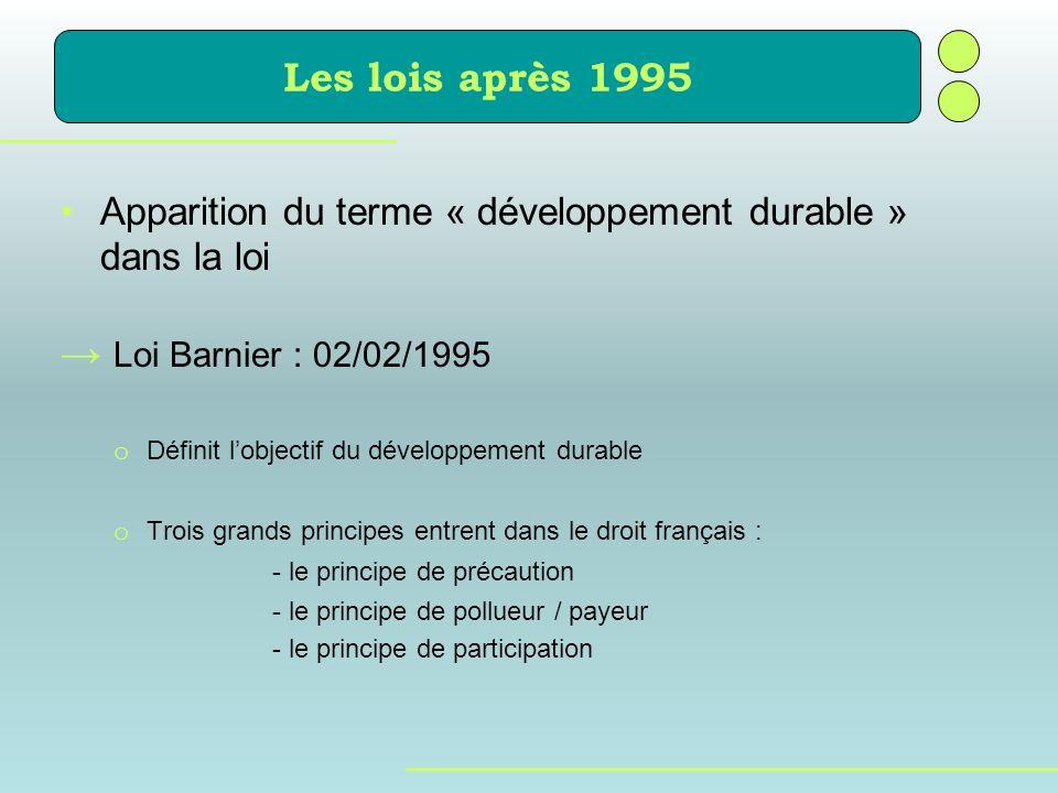 Les lois après 1995 → Loi Barnier : 02/02/1995