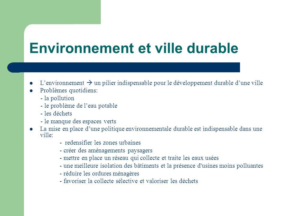 Environnement et ville durable