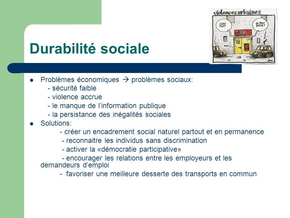 Durabilité sociale Problèmes économiques  problèmes sociaux: