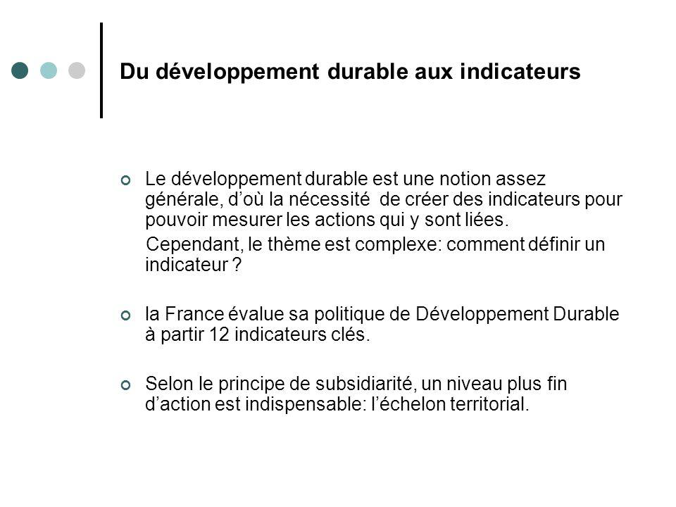 Du développement durable aux indicateurs