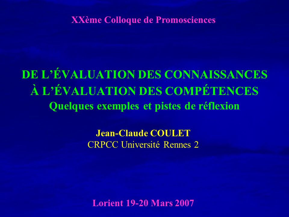 XXème Colloque de Promosciences