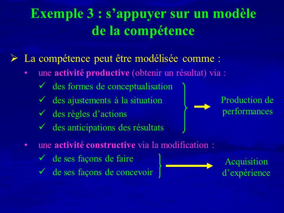 Exemple 3 : s'appuyer sur un modèle de la compétence