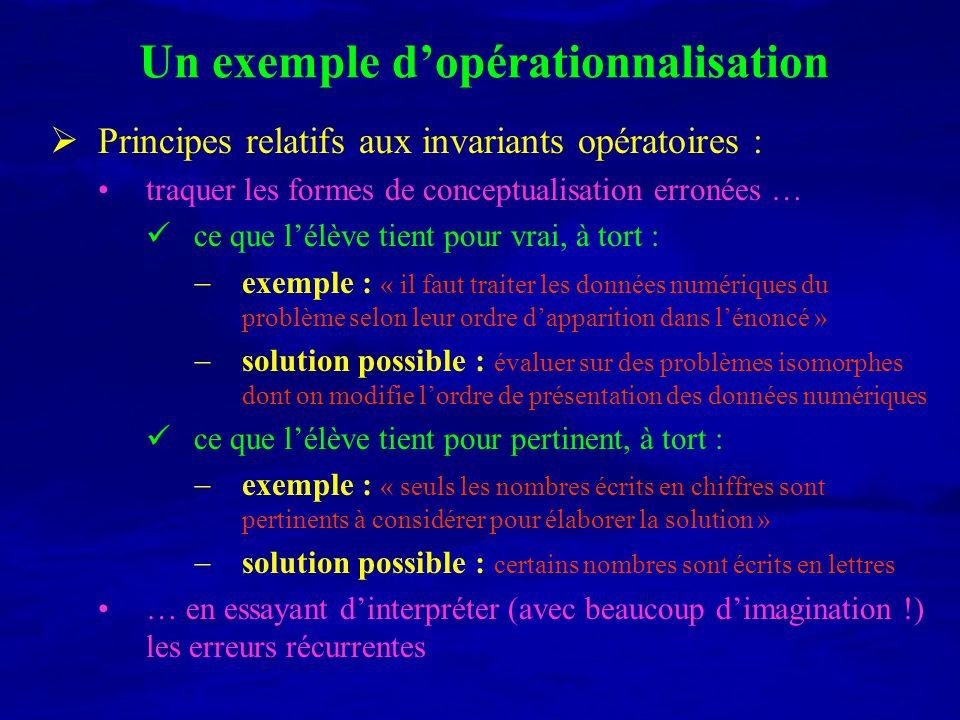 Un exemple d'opérationnalisation