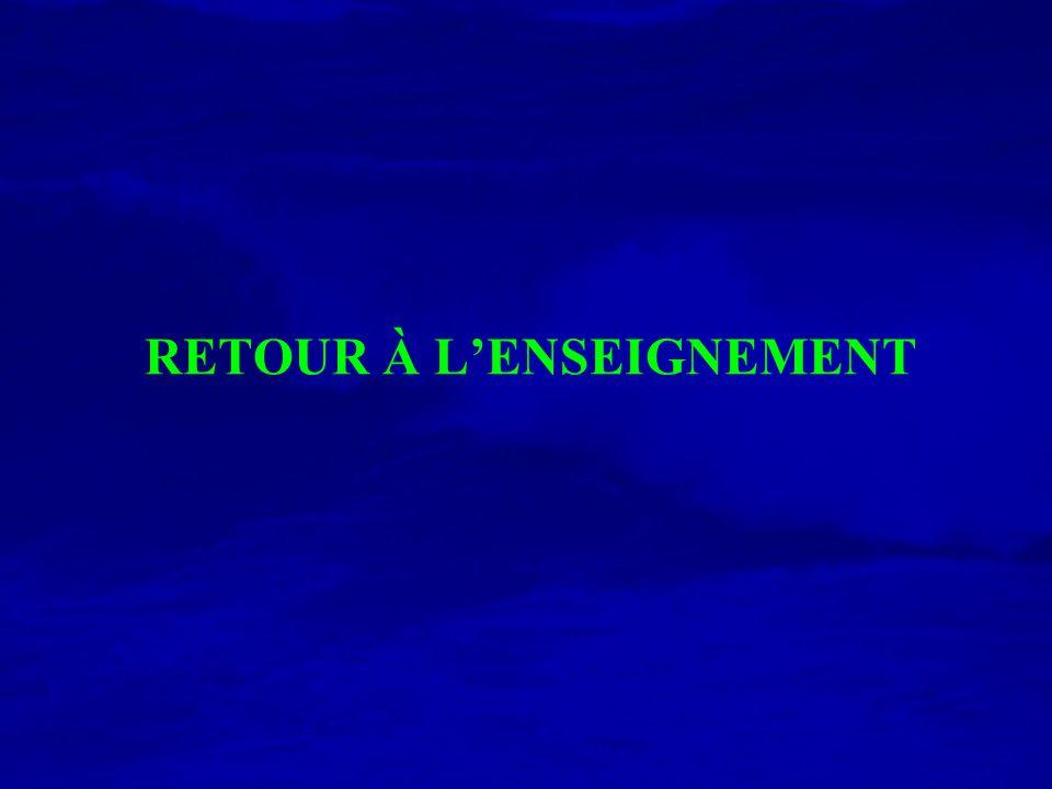 RETOUR À L'ENSEIGNEMENT