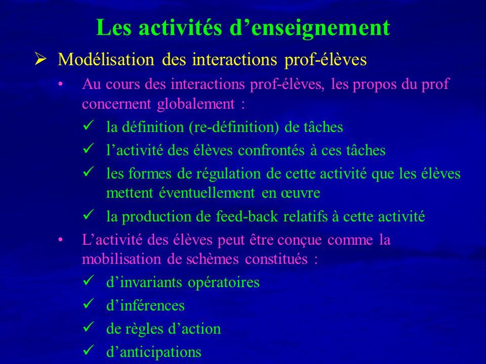 Les activités d'enseignement