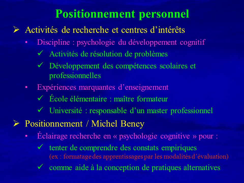 Positionnement personnel