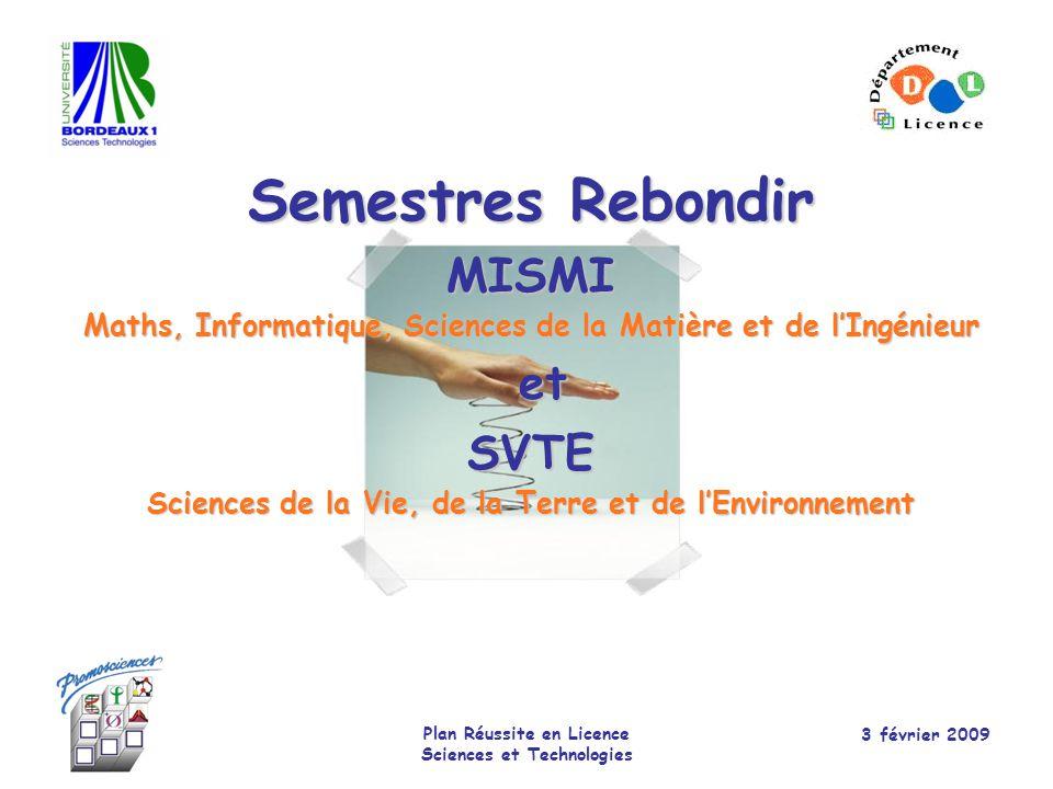 Semestres Rebondir et MISMI SVTE