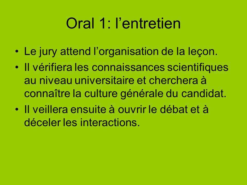 Oral 1: l'entretien Le jury attend l'organisation de la leçon.