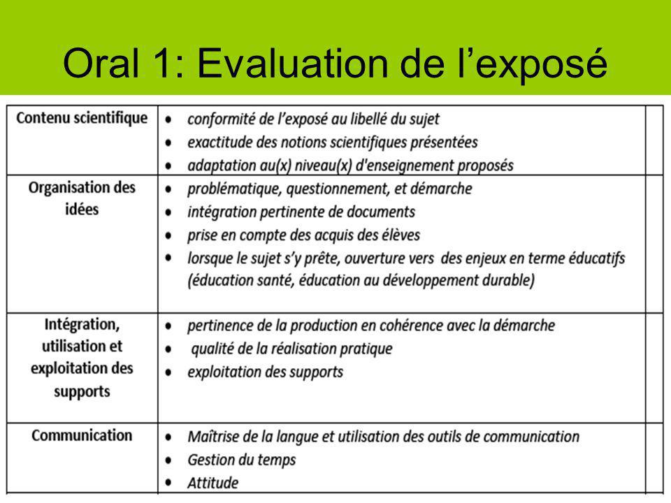 Oral 1: Evaluation de l'exposé