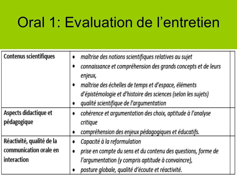 Oral 1: Evaluation de l'entretien