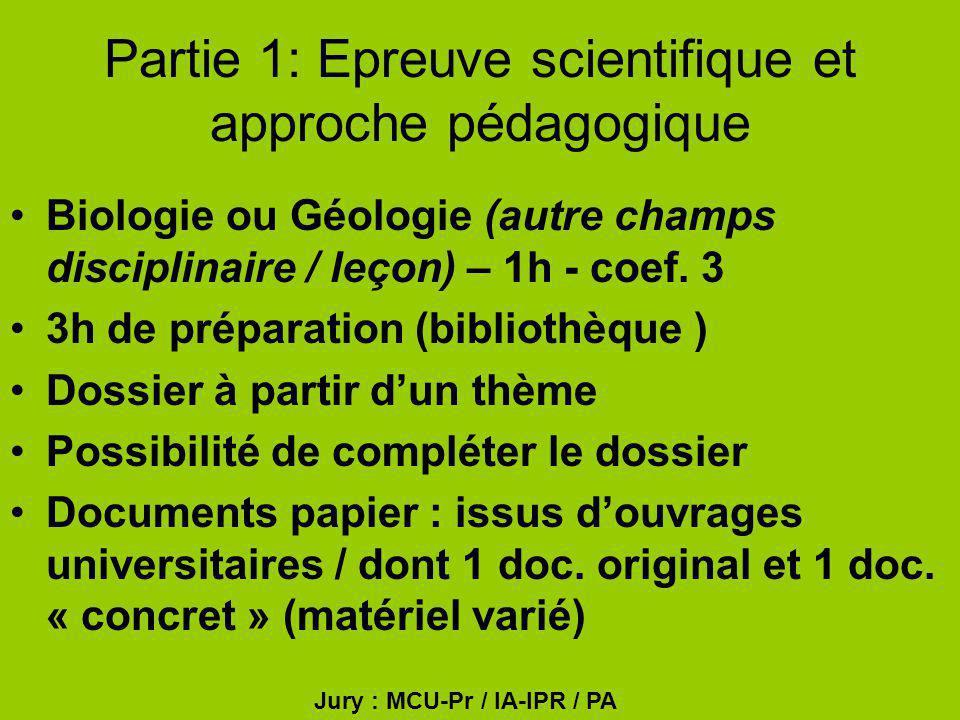 Partie 1: Epreuve scientifique et approche pédagogique