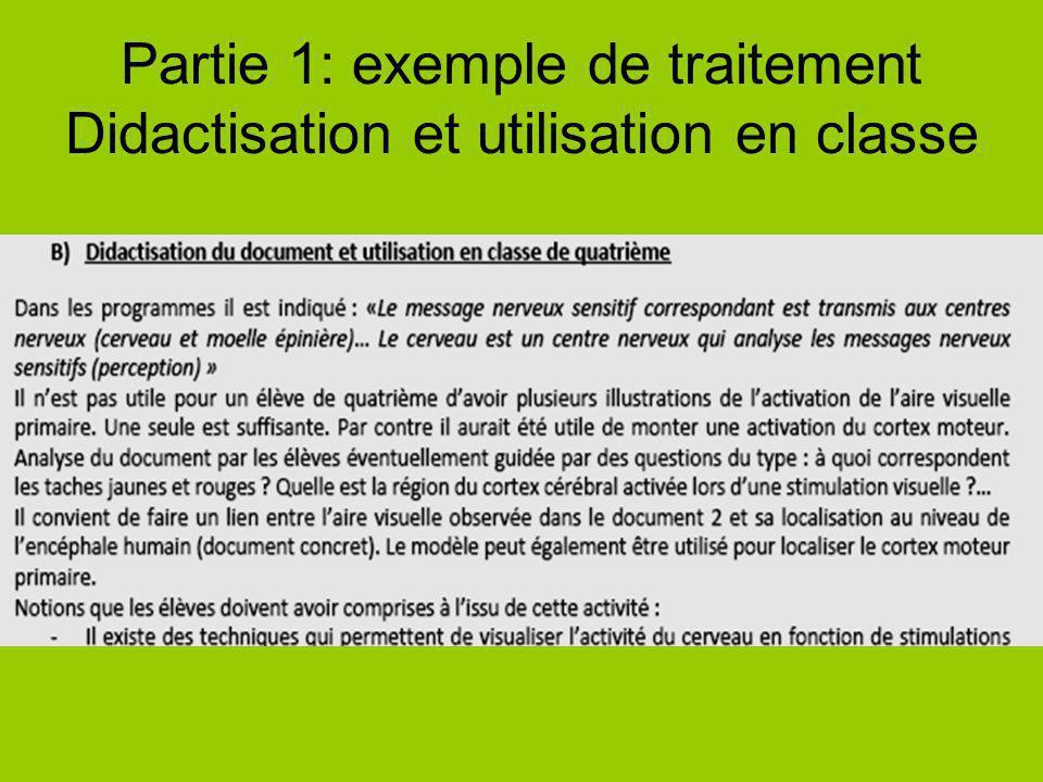Partie 1: exemple de traitement Didactisation et utilisation en classe