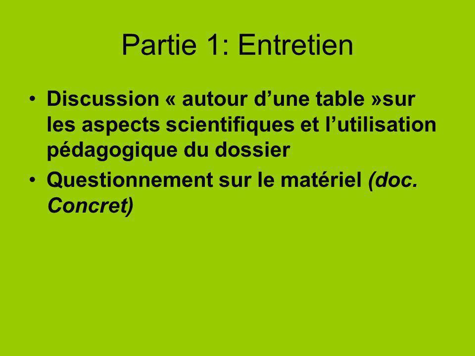 Partie 1: Entretien Discussion « autour d'une table »sur les aspects scientifiques et l'utilisation pédagogique du dossier.