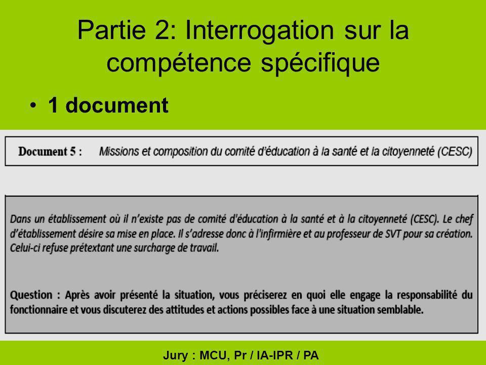 Partie 2: Interrogation sur la compétence spécifique