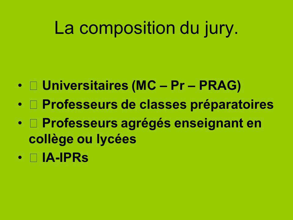 La composition du jury.  Universitaires (MC – Pr – PRAG)