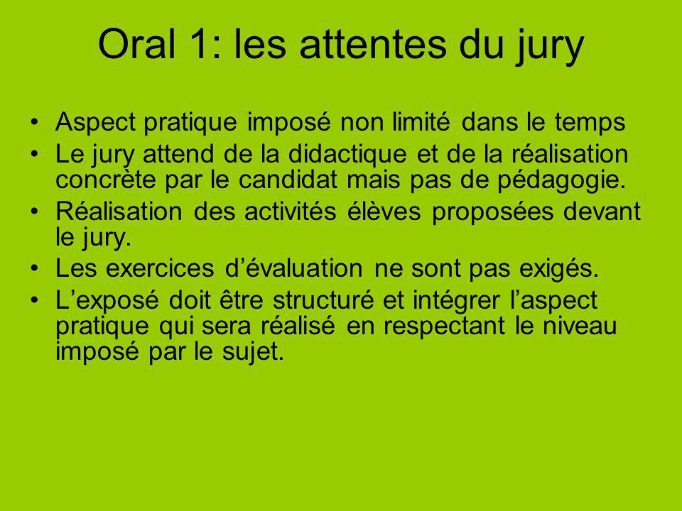 Oral 1: les attentes du jury