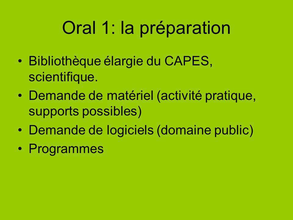 Oral 1: la préparation Bibliothèque élargie du CAPES, scientifique.