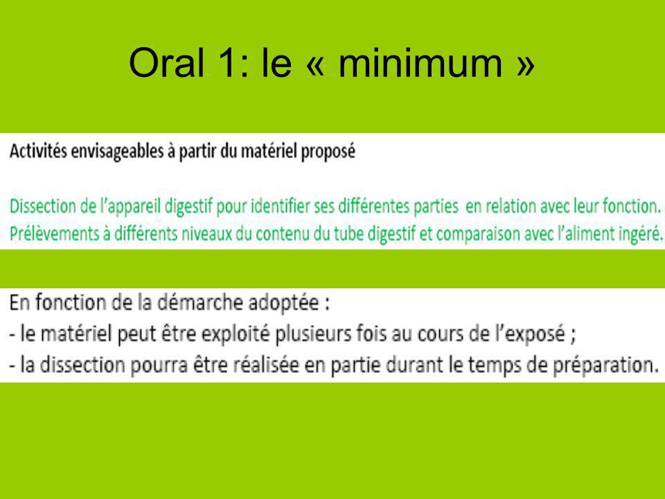 Oral 1: le « minimum »