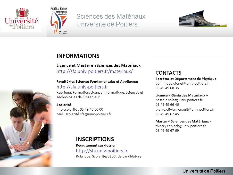 Sciences des Matériaux Université de Poitiers