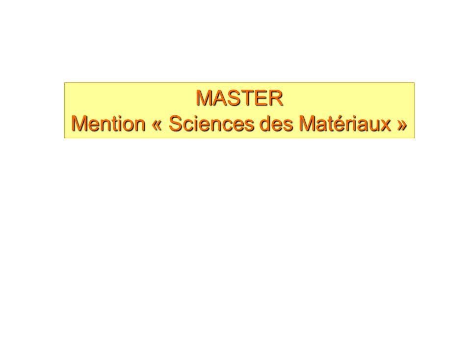 Mention « Sciences des Matériaux »