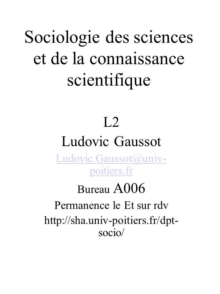 Sociologie des sciences et de la connaissance scientifique
