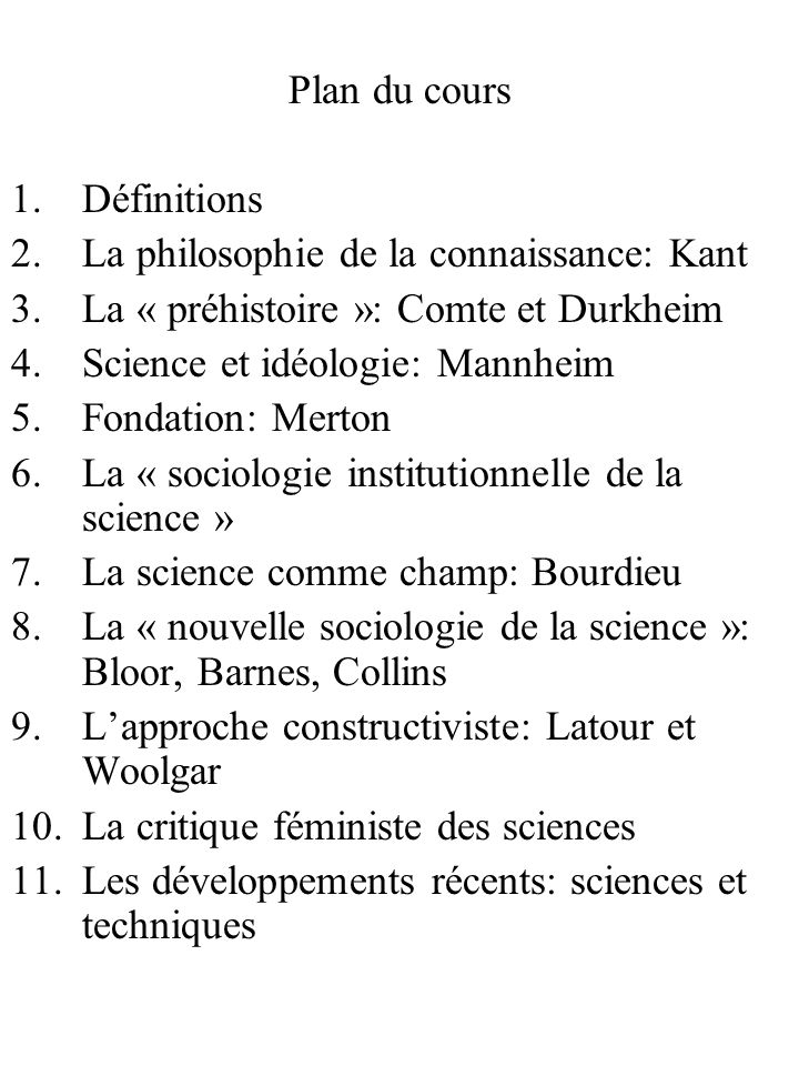 Plan du cours Définitions. La philosophie de la connaissance: Kant. La « préhistoire »: Comte et Durkheim.