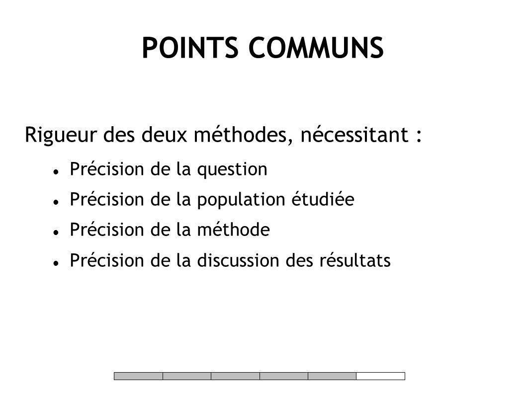POINTS COMMUNS Rigueur des deux méthodes, nécessitant :