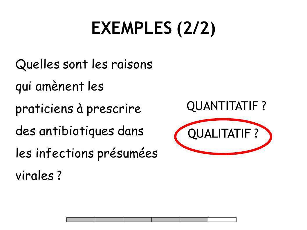 EXEMPLES (2/2) Quelles sont les raisons qui amènent les praticiens à prescrire des antibiotiques dans les infections présumées virales