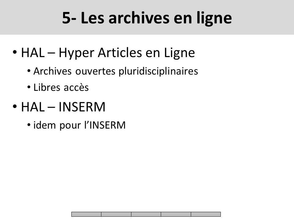 5- Les archives en ligne HAL – Hyper Articles en Ligne HAL – INSERM