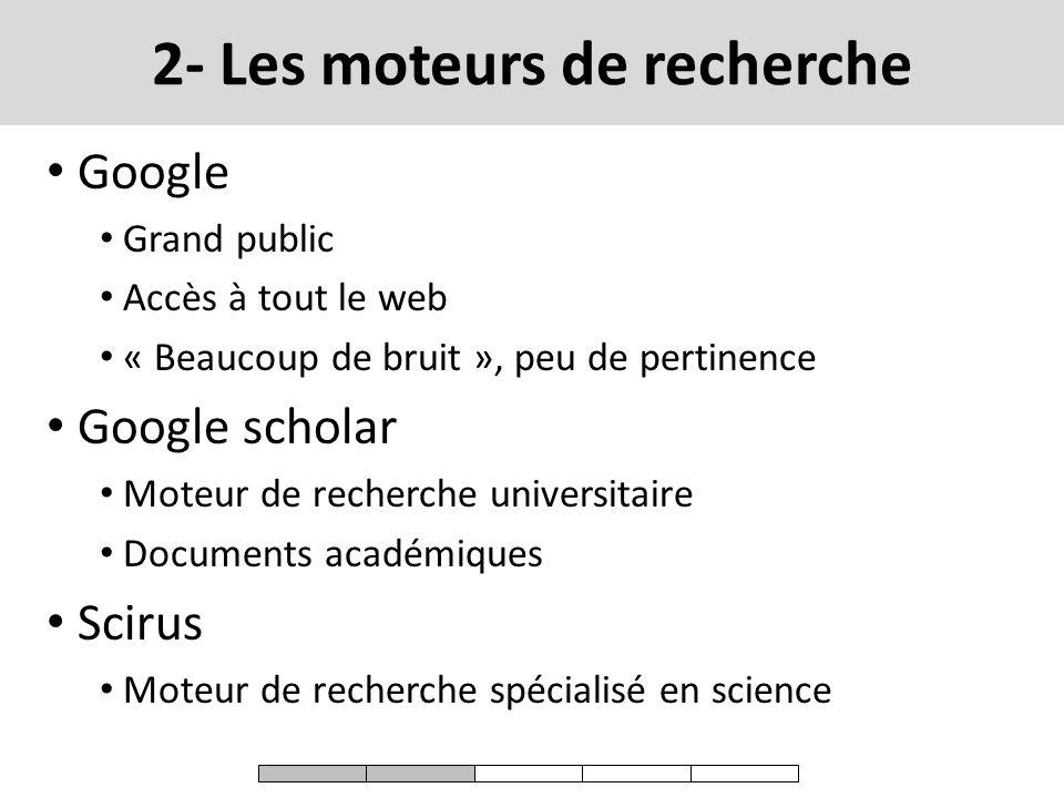 2- Les moteurs de recherche