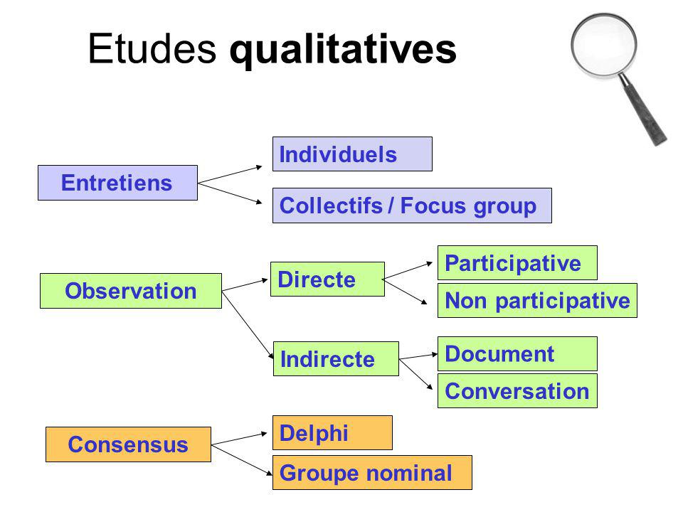Etudes qualitatives Individuels Entretiens Collectifs / Focus group