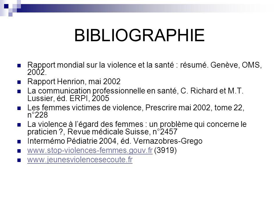 BIBLIOGRAPHIE Rapport mondial sur la violence et la santé : résumé. Genève, OMS, 2002. Rapport Henrion, mai 2002.