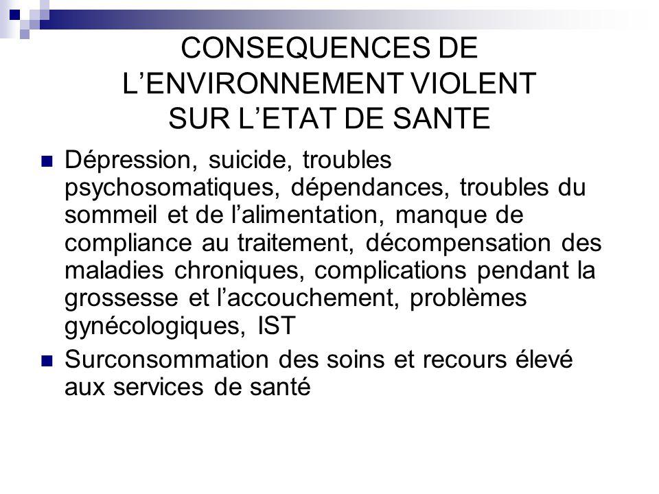 CONSEQUENCES DE L'ENVIRONNEMENT VIOLENT SUR L'ETAT DE SANTE
