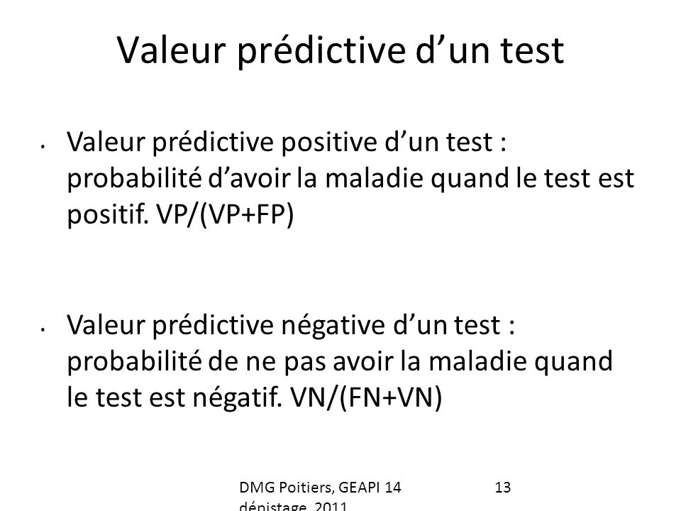 Valeur prédictive d'un test
