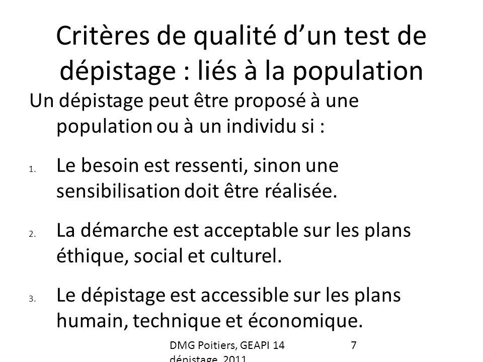 Critères de qualité d'un test de dépistage : liés à la population