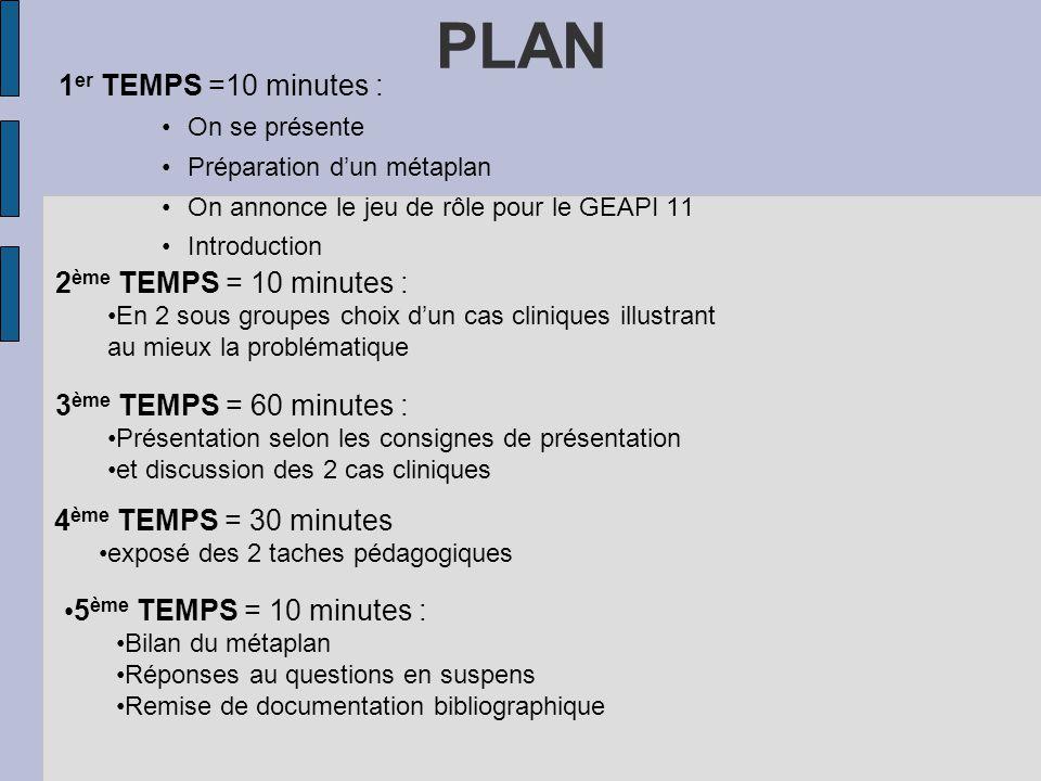 PLAN 1er TEMPS =10 minutes : 2ème TEMPS = 10 minutes :