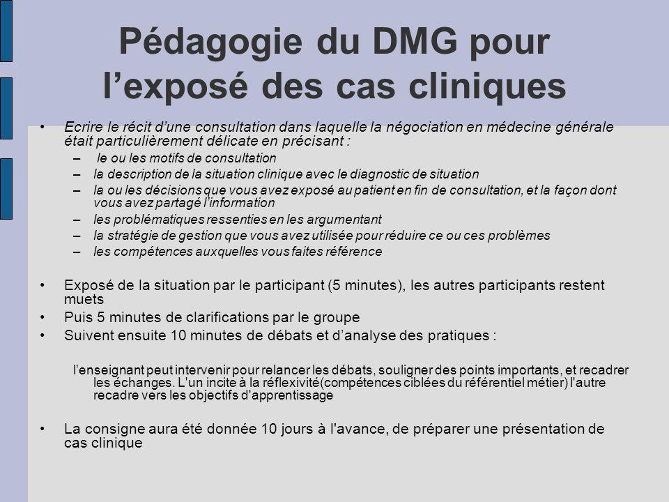 Pédagogie du DMG pour l'exposé des cas cliniques