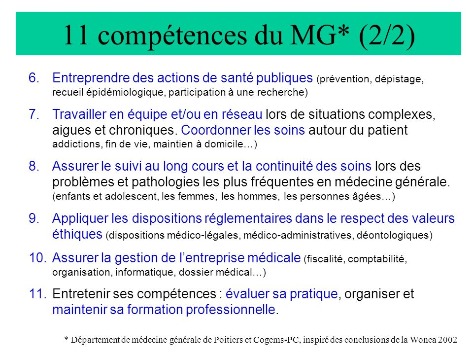 11 compétences du MG* (2/2)