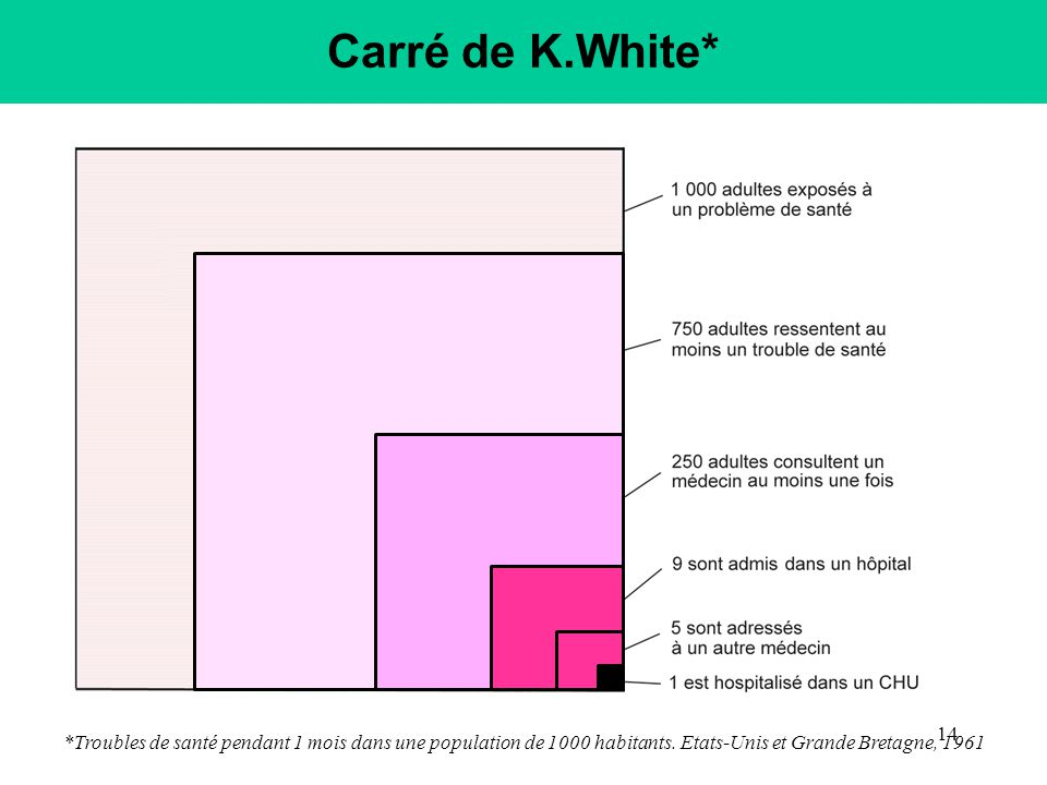 Carré de K.White* *Troubles de santé pendant 1 mois dans une population de 1000 habitants.
