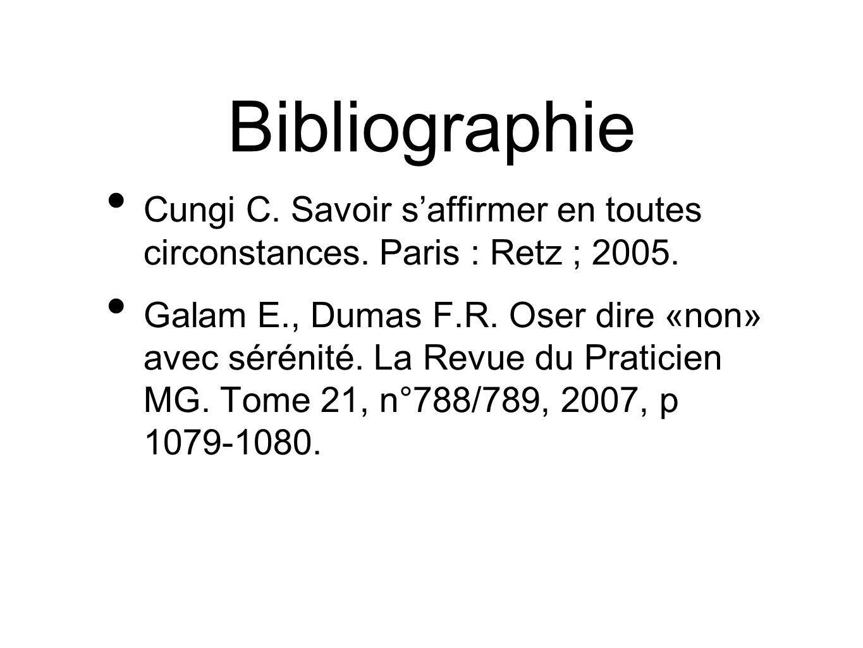 Bibliographie Cungi C. Savoir s'affirmer en toutes circonstances. Paris : Retz ; 2005.