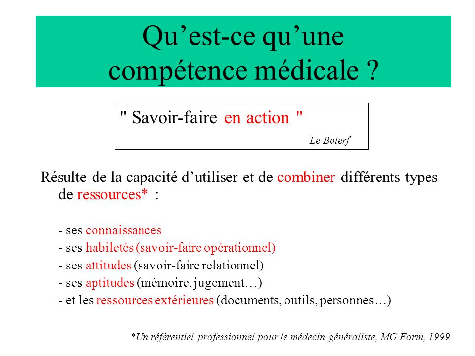 Qu'est-ce qu'une compétence médicale