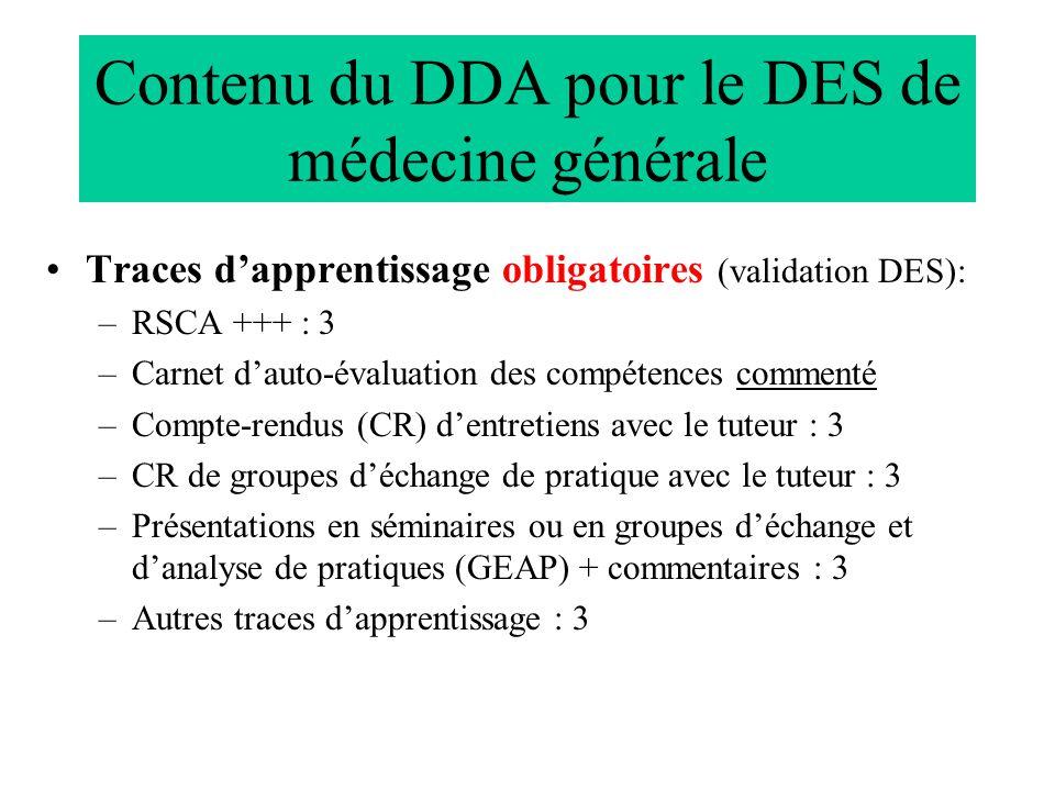Contenu du DDA pour le DES de médecine générale