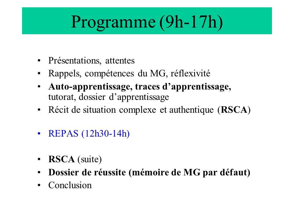 Programme (9h-17h) Présentations, attentes